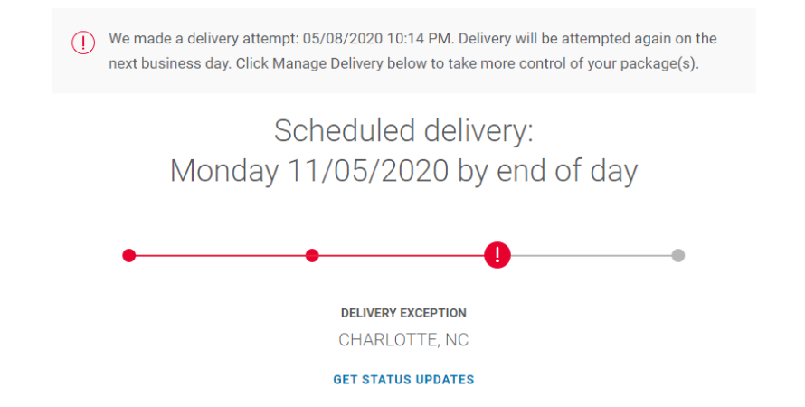 Notification for a failed delivery attempt