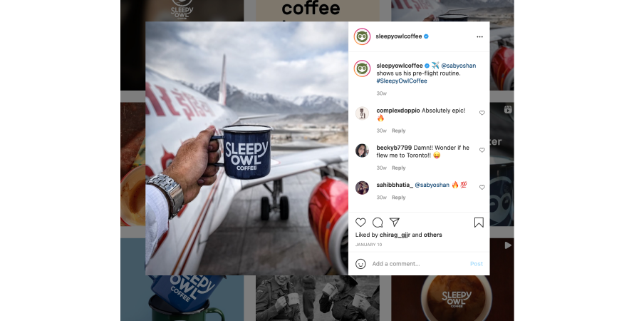 Sleepy owl coffee aims high at customer engagement across social media