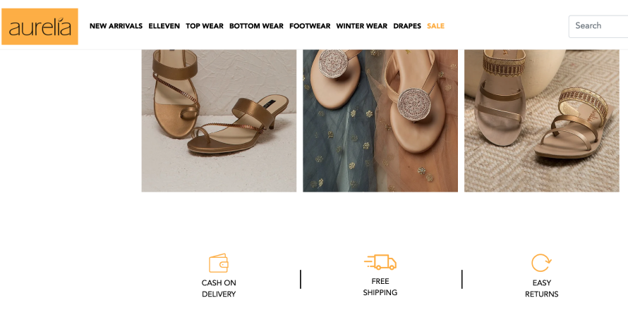 Aurelia offers free shipping on all orders