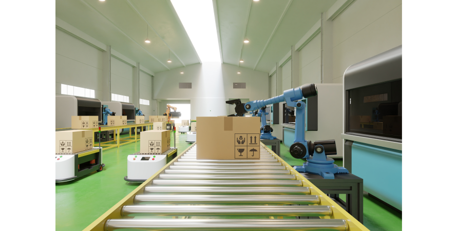 Conveyor belt and robots being used in a fulfilment centre