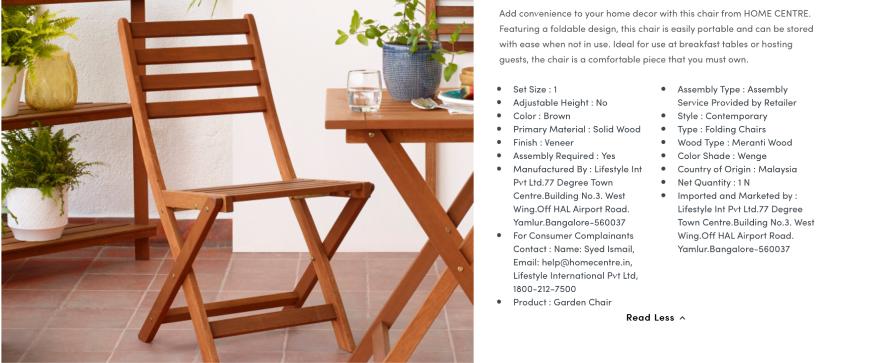 Homecentre includes detailed product descriptions