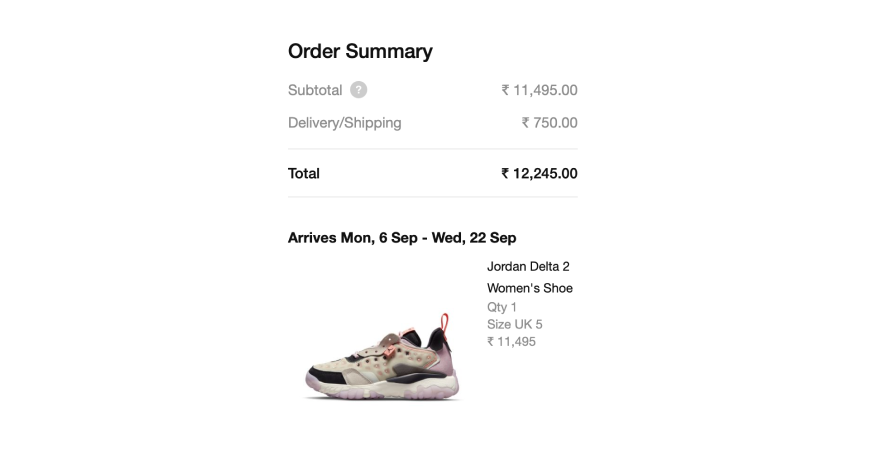 Nike provides estimated delivery date