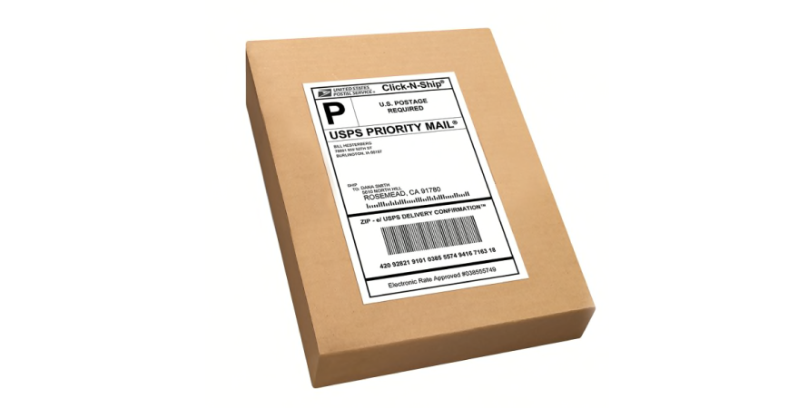 A shipping label on an order