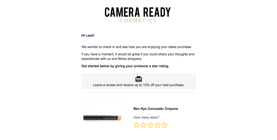Camera ready cosmetics' post purchase email