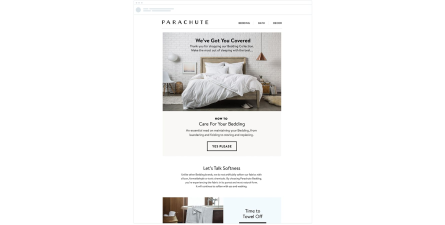 Parachute sends product tips
