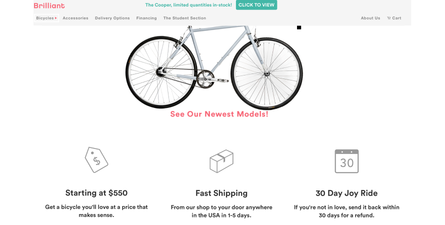 Brilliant, a bicycle brand, showcases fast shipping and easy returns on its home page