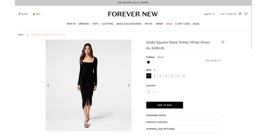 Forever New offers free delivery on all orders