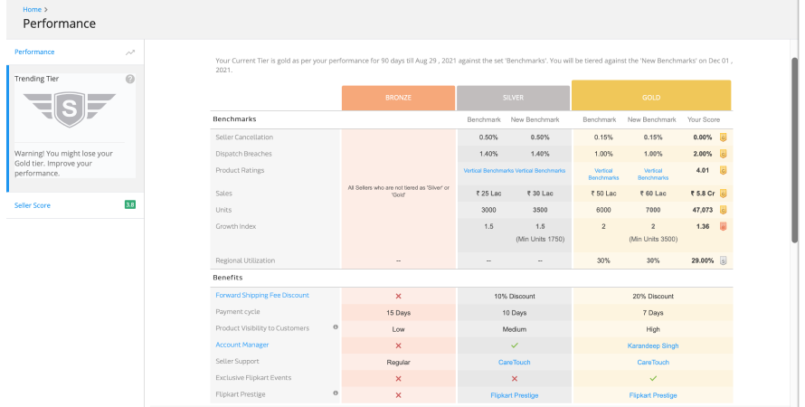 Performance on Flipkart seller dashboard