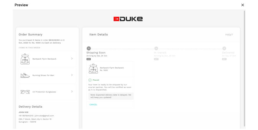Duke India provides real-time order tracking via Customer Portal