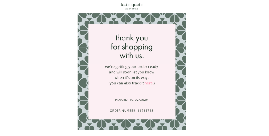 Kate Spade sends out order confirmation