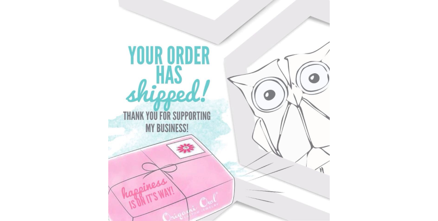 Origami owl sends out shipping notification
