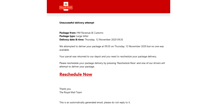 Royal Mail sends out failed delivery attempt notification with easy rescheduling