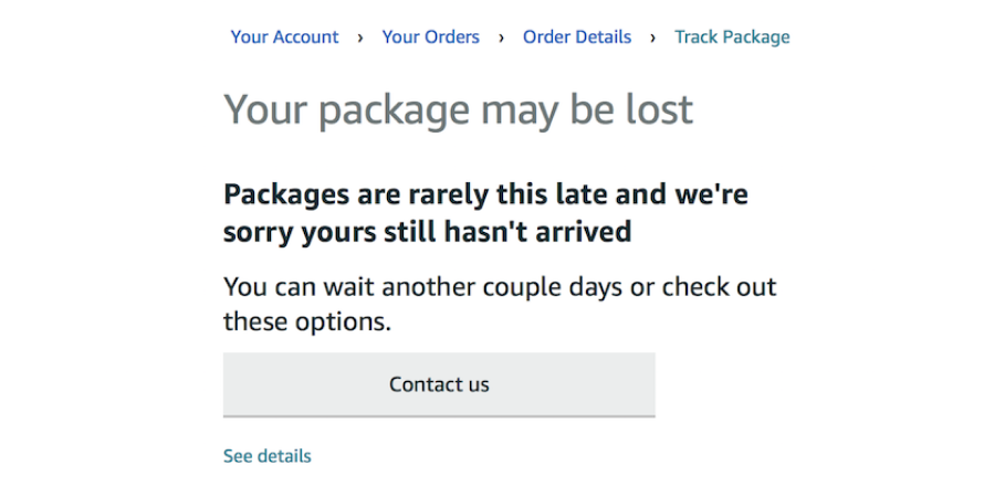 Amazon sends out lost package notification