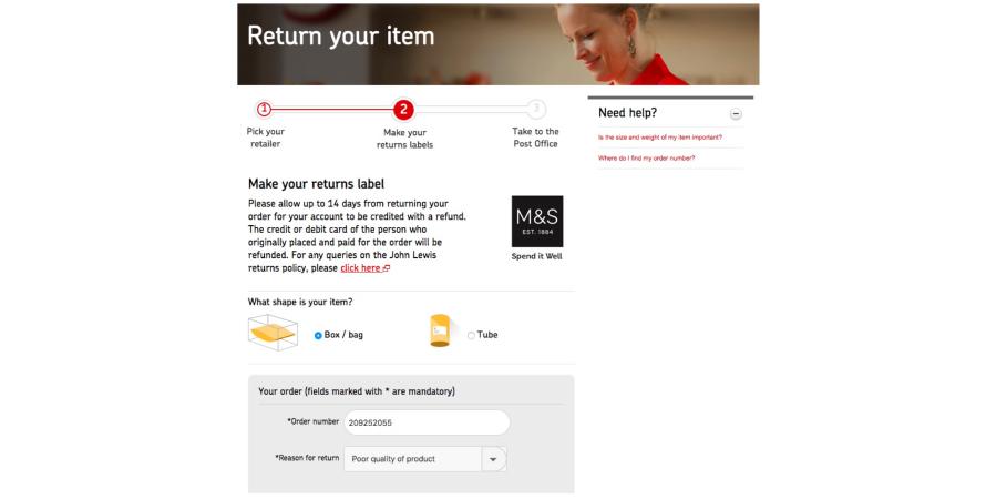 Marks & Spencer asks for reason for return