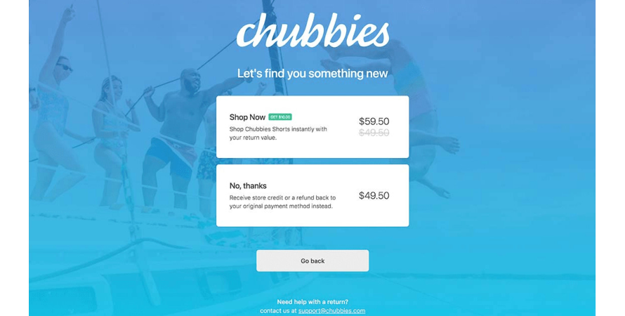 Chubbies provides offers on exchanges