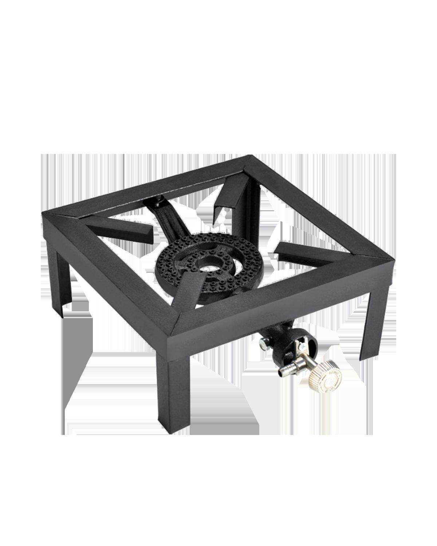 Fornellone a gas dotato di un rubinetto per regolare la fiamma. Sicuro nell'utilizzo. Struttura in ferro verniciato con bruciatore in ghisa. Comodo da trasportare.