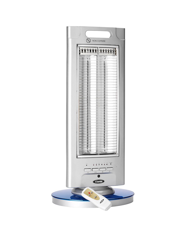 Le resistenze in fibra di carbonio e la base oscillante, garantiscono un calore immediato. Costruita con materiale ignifugo è dotato di spegnimento automatico in caso di ribaltamento.