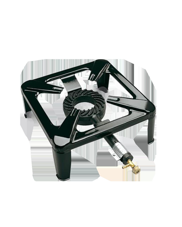 Fornellone a gas dotato di un rubinetto per regolare la fiamma. Sicuro nell'utilizzo. Struttura in acciaio smaltato con bruciatore in ghisa. Comodo e pratico da trasportare.