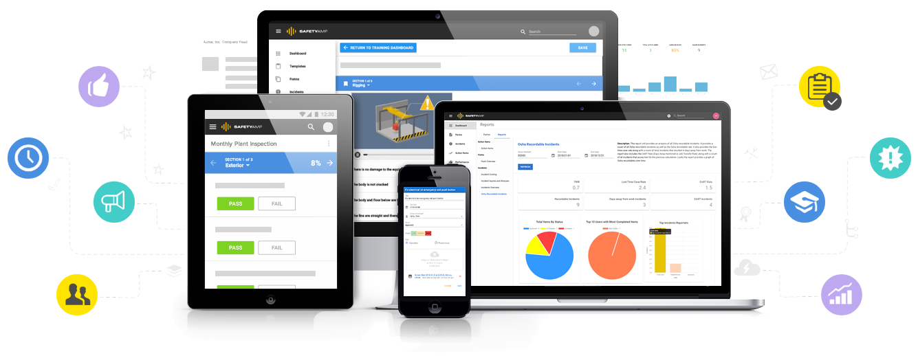 SafetyAmp is a cloud-based mobile safety and quality platform. Configurable for EHS professionals and easy to use for the frontline.