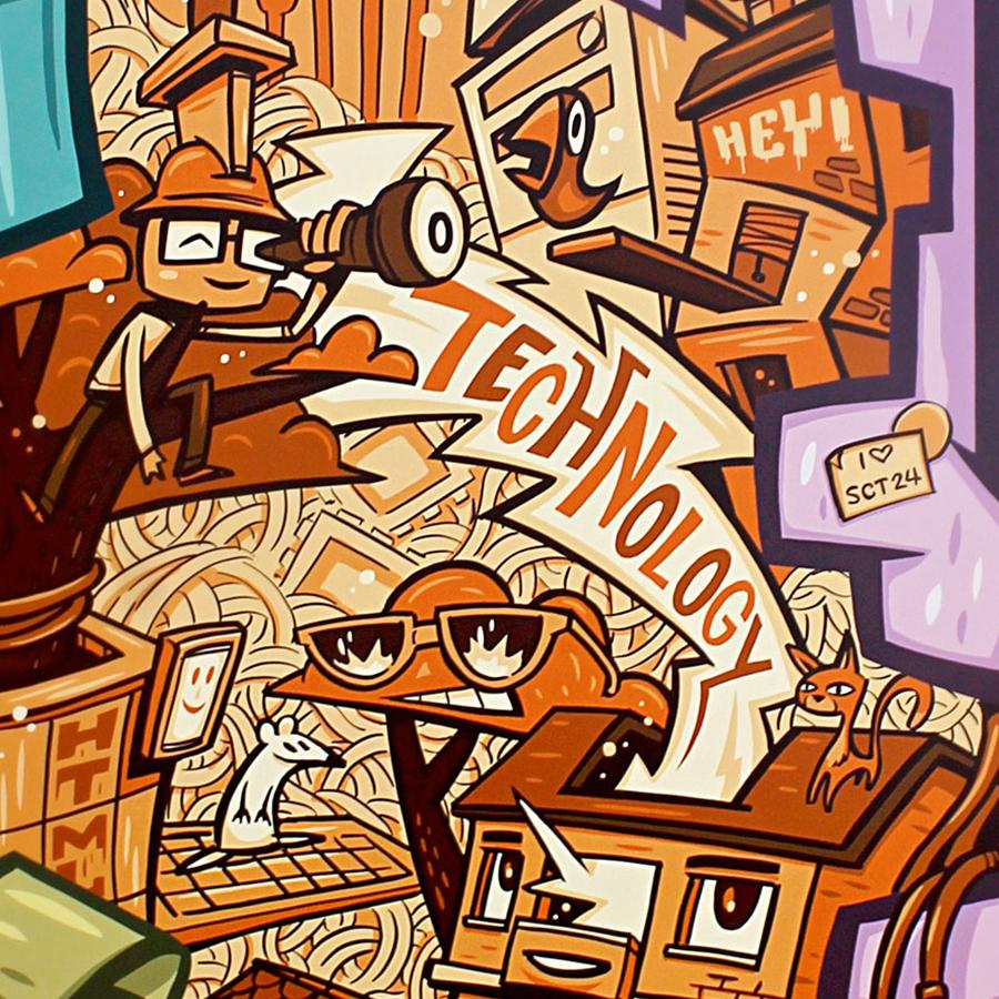 Graffiti Illustration am Automat für Immobilienscout24