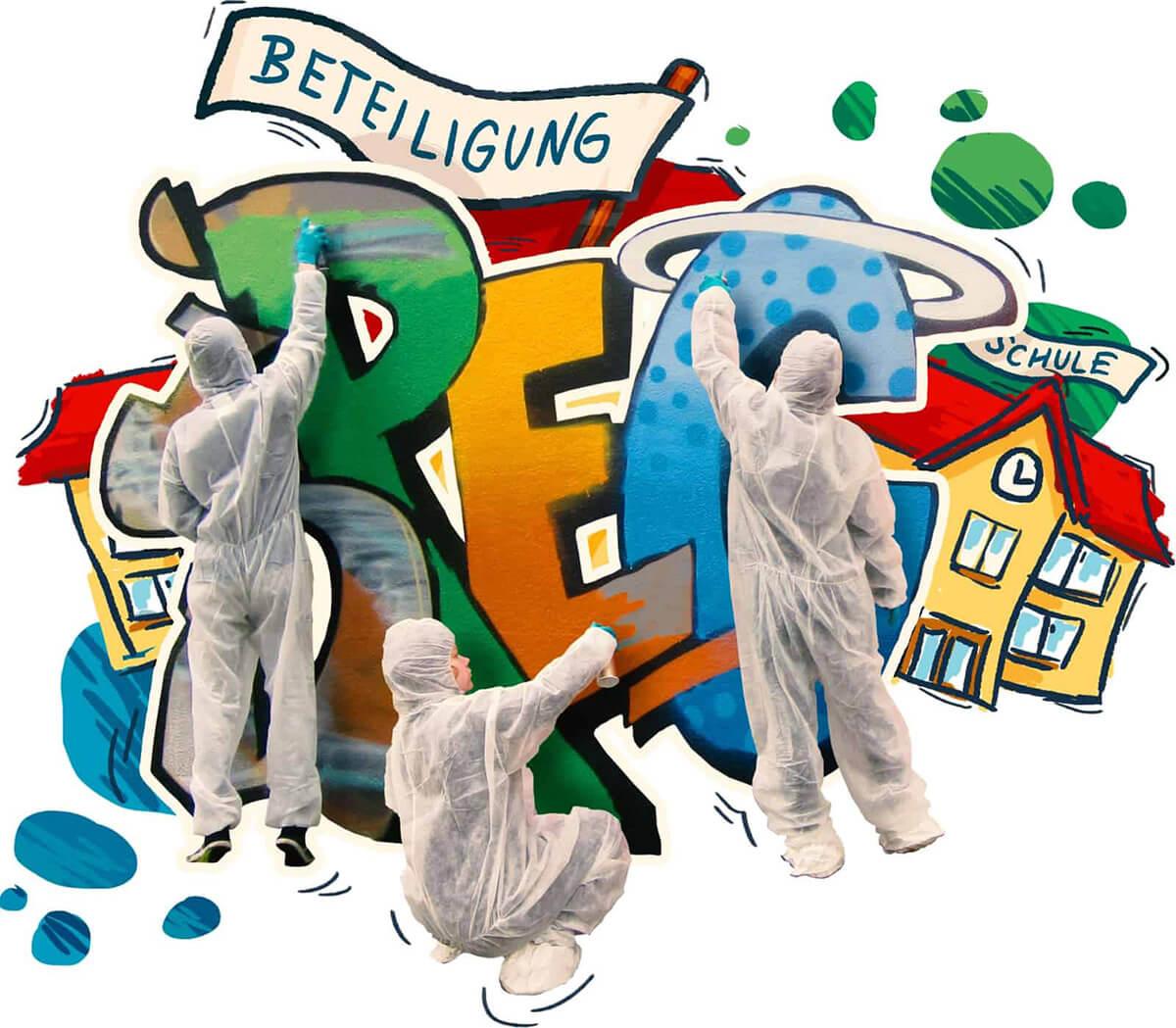 """drei Kindern sprühen Graffiti, Wörter """"Beteiligung"""" und """"Schule"""" sind zu sehen"""