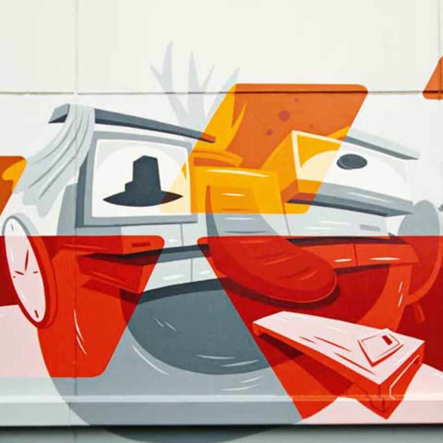 Abstakte und bunte Graffiti Illustration für MÖBELKRAFT