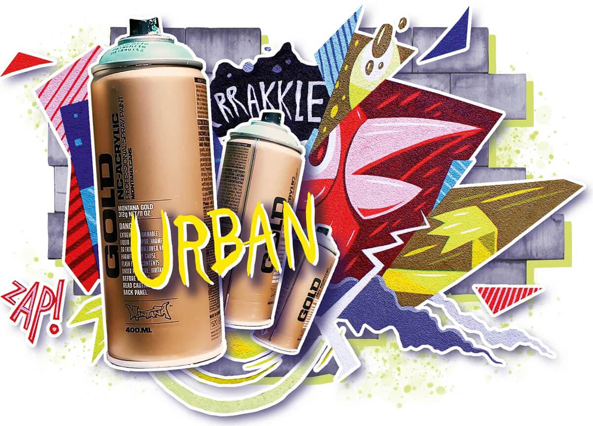 Sprühdosen und unterschiedliche Graffiti-Kunstwerke