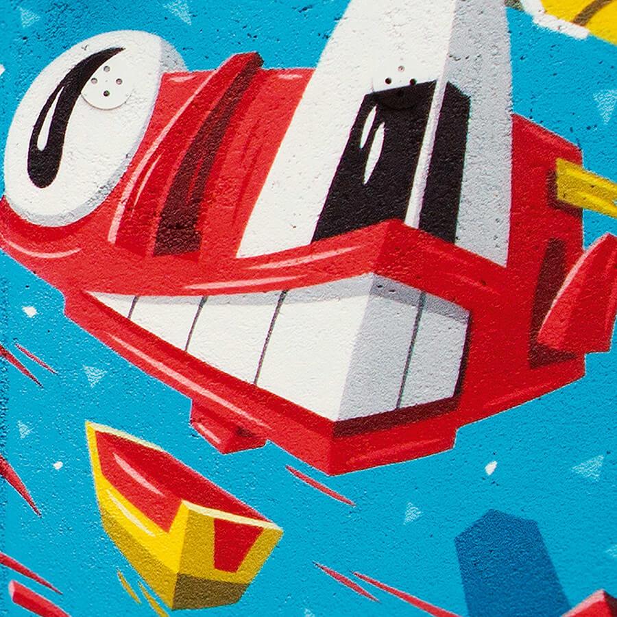 Fröhlicher Smiley im Graffiti Stil für Berliner Immobilienmanagement - Sportplatzhaus