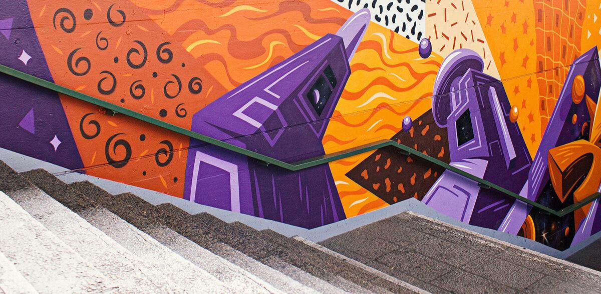 Graffiti Wandgestaltung am S-Bahnhof Berlin Mehrower Allee