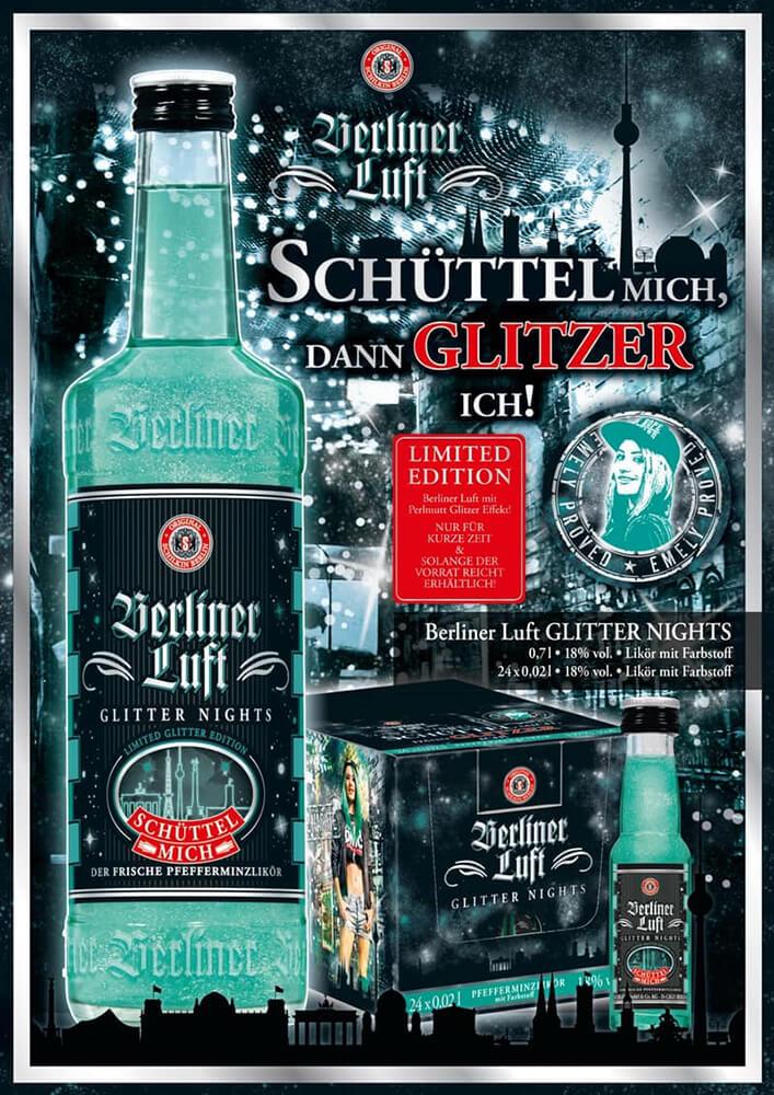 Berliner Luft Folder: Glitter Nights mit Flasche, Karton und Spruch