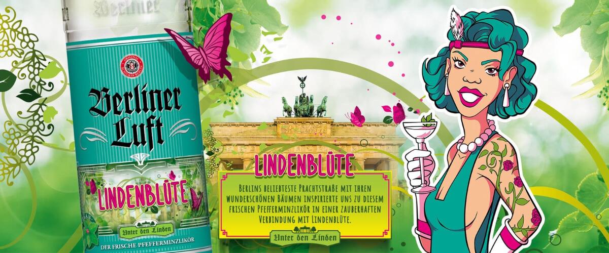Berliner Luft Banner mit Lindenblüte Flasche und Comic Emely