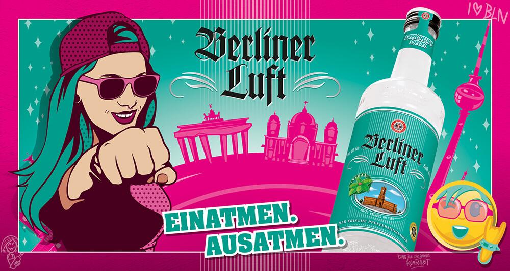 Berliner Luft Banner mit Flasche, Model Emely, Smiley und Logo 2020