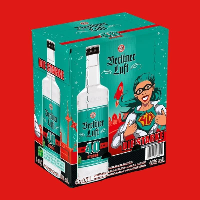 Berliner Luft Strong Verpackung mit Emely und Flasche