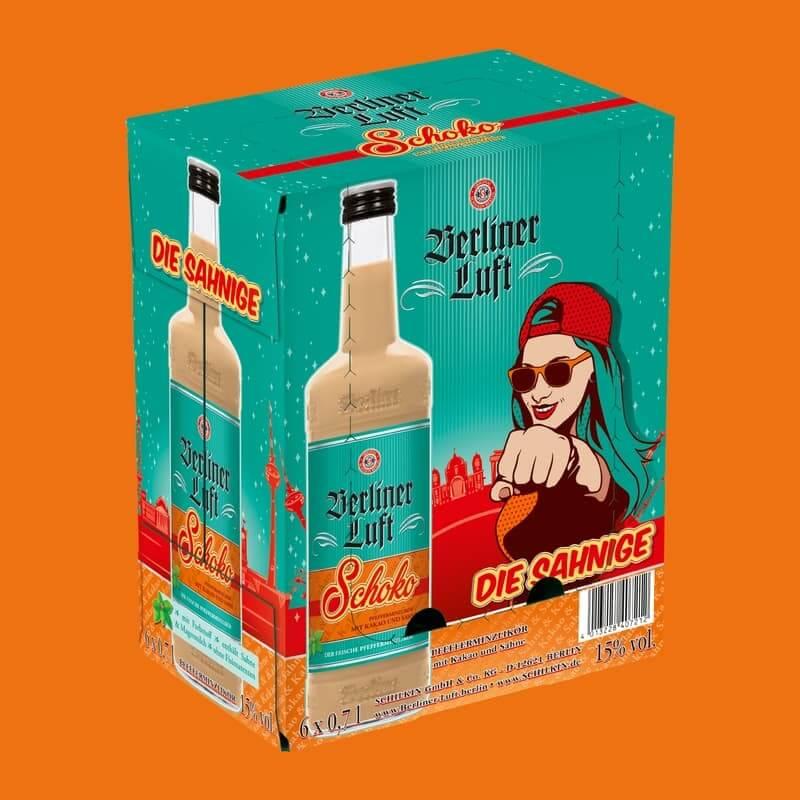 Berliner Luft Schoko Verpackung mit Emely und FlascheBerliner Luft Schoko Verpackung mit Emely und Flasche
