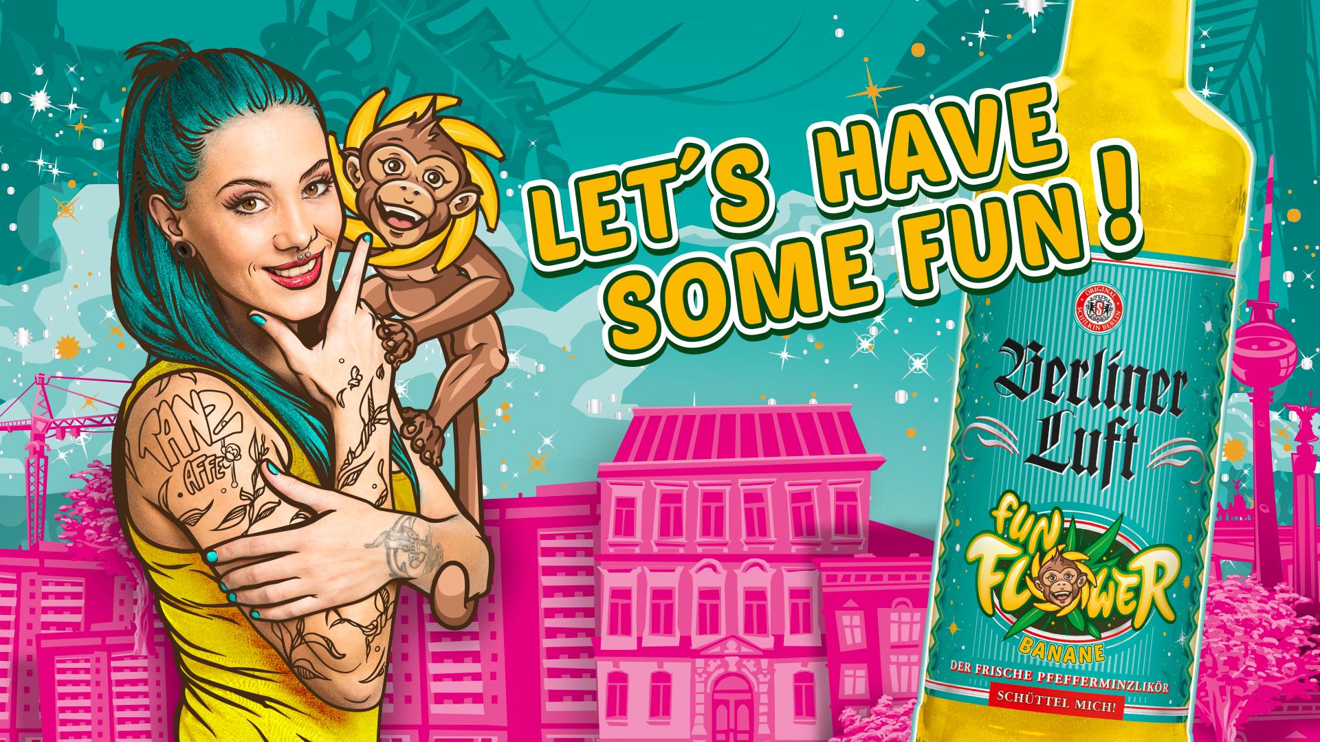 Berliner Luft Fun Flower Banner mit Fun Flower Flasche, Emely mit Äffchen und Slogan