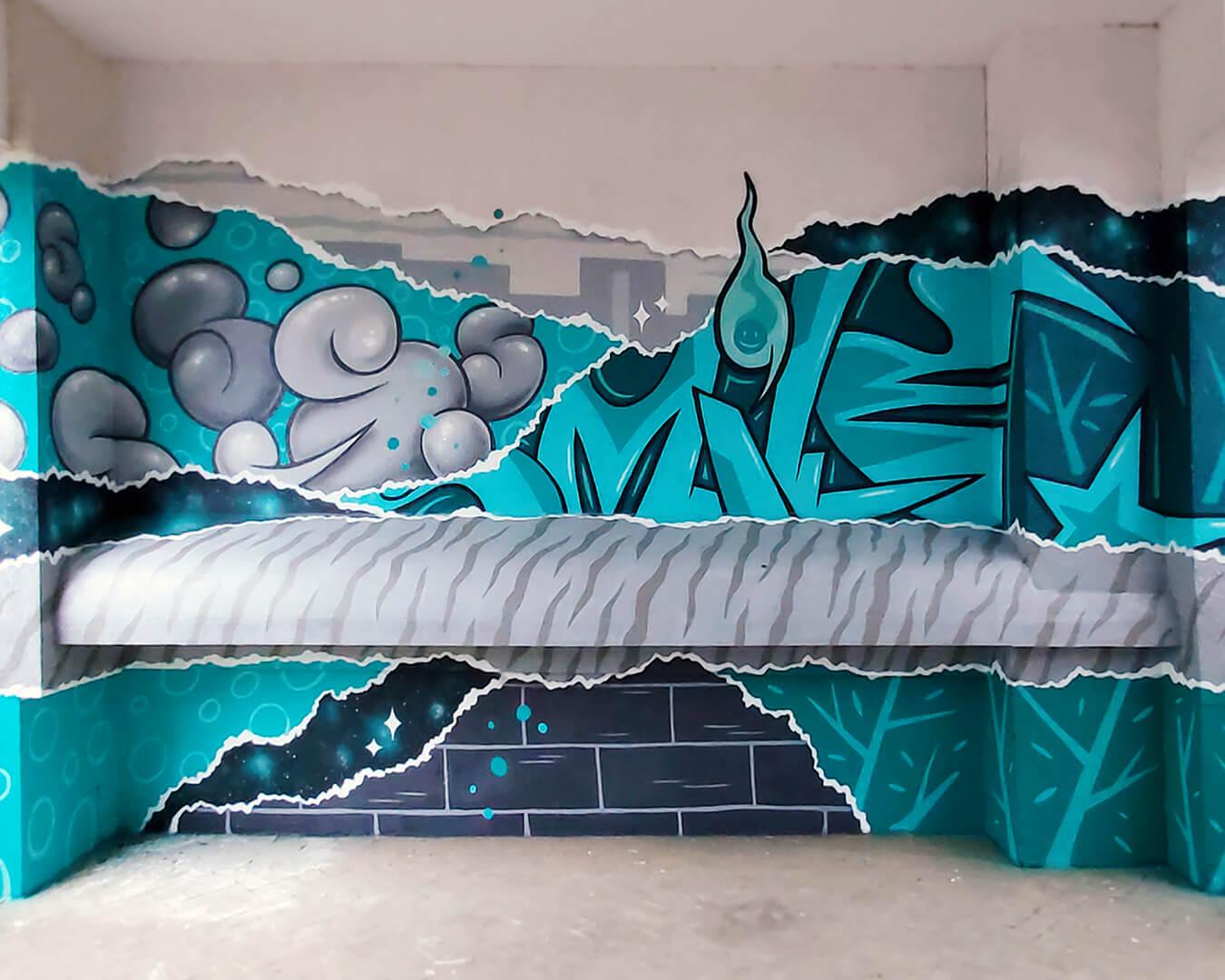 """Graffiti Hausdurchgang """"Stadt und Land"""" Berlin Hellersdorf türkise Wand mit Typografie und runden Formen"""
