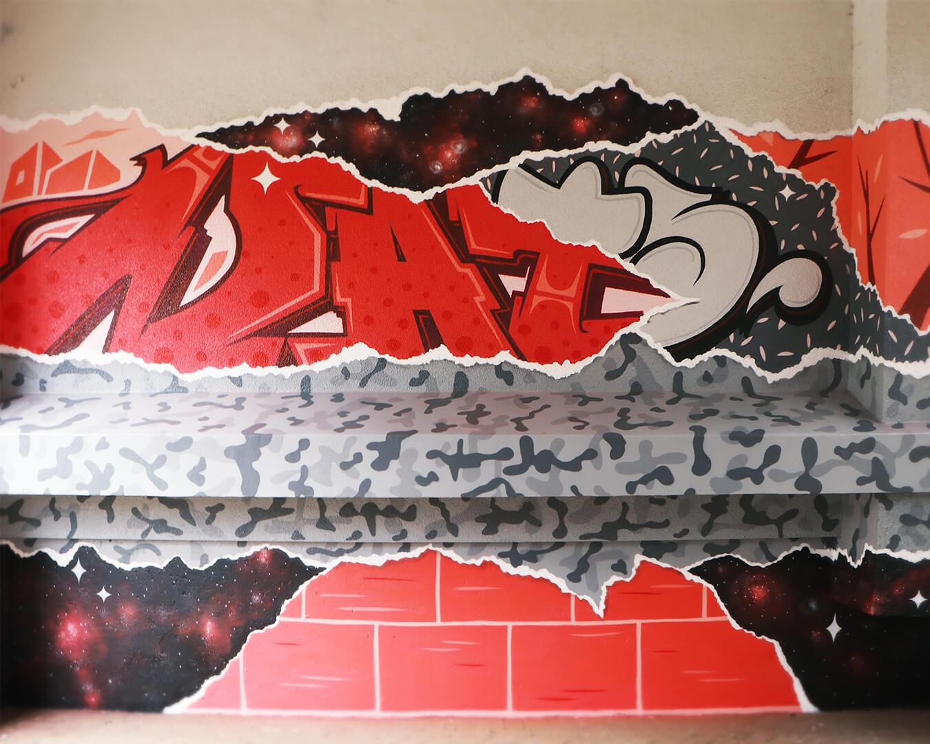 """Graffiti Hausdurchgang """"Stadt und Land"""" Berlin Hellersdorf rote Typografie mit grauem Muster"""