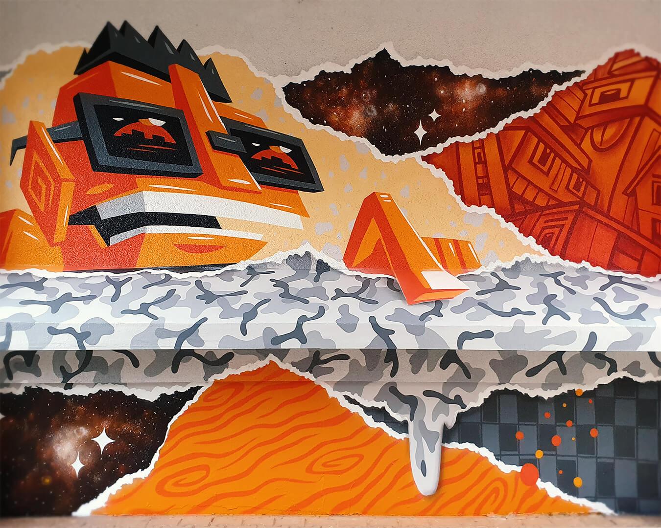 """Graffiti Hausdurchgang """"Stadt und Land"""" Berlin Hellersdorf orange Figur mit Brille"""