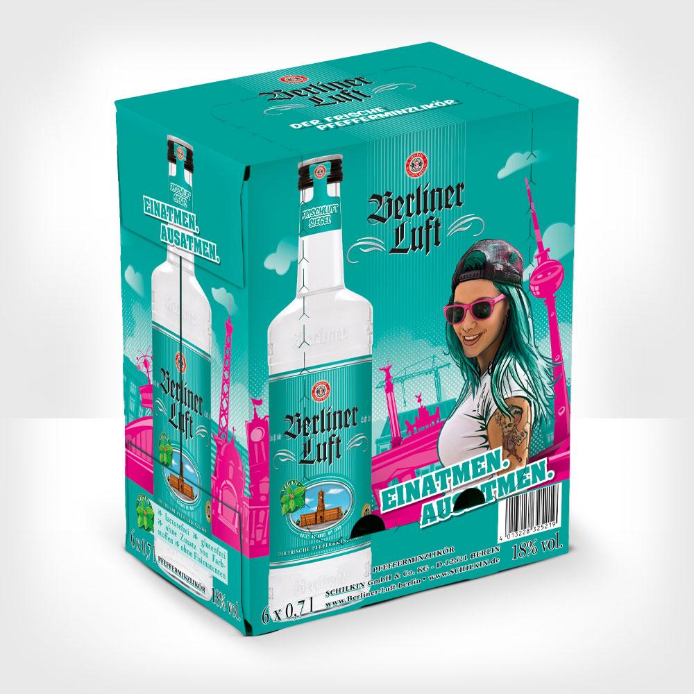 Berliner Luft der frische Pfefferminzlikör 0,7 l Verpackung mit Emely und Flasche
