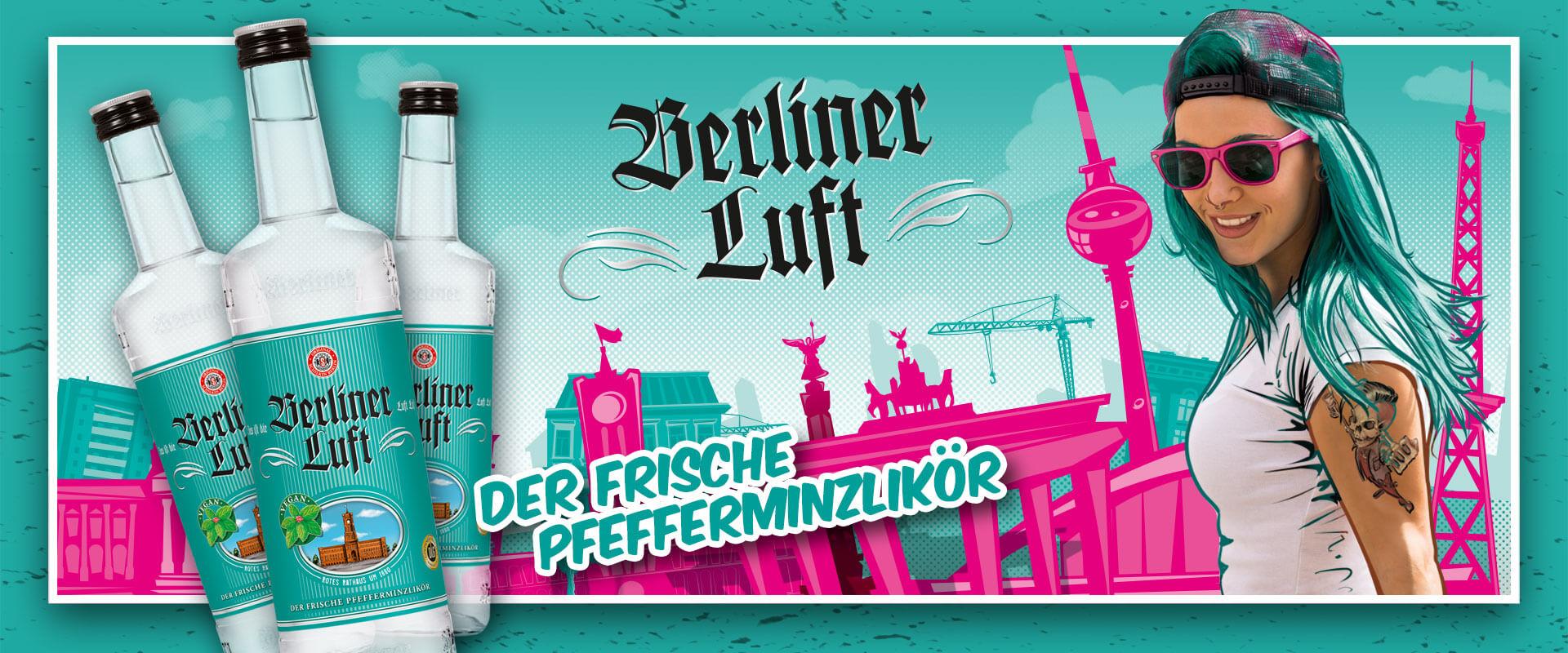 Berliner Luft Banner mit Flasche, Model Emely und Logo