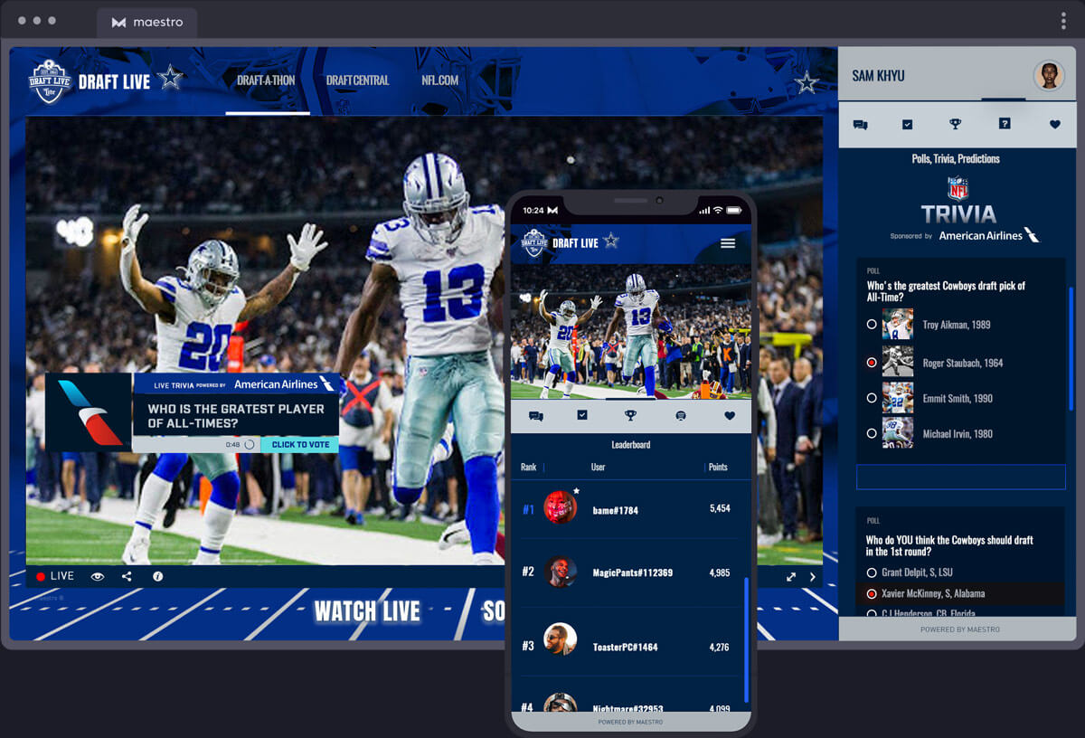Gamify the Play-along Experience | Maestro Live Streaming Sports - Solutions