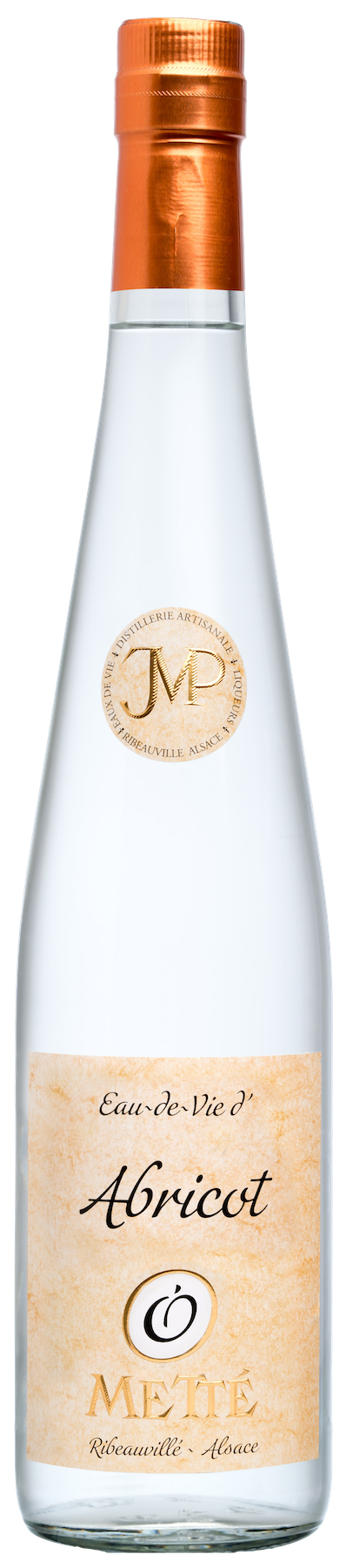 A long white bottle with a label written Abricot Mette