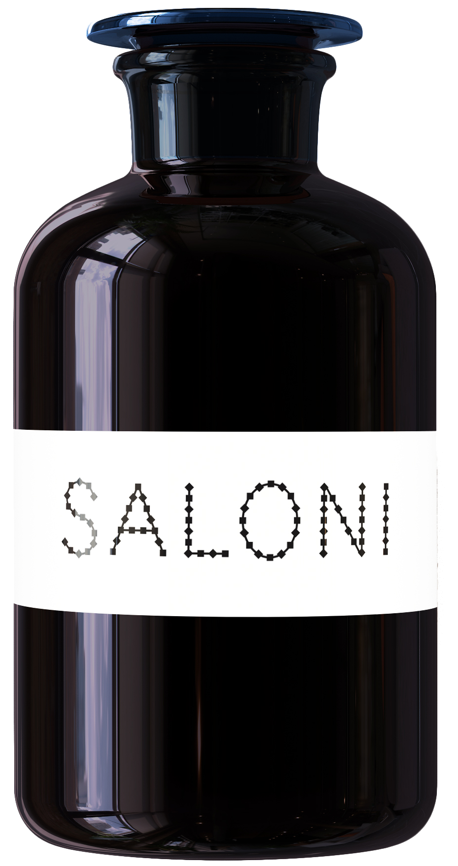 A bottle with a white label and Saloni written in black