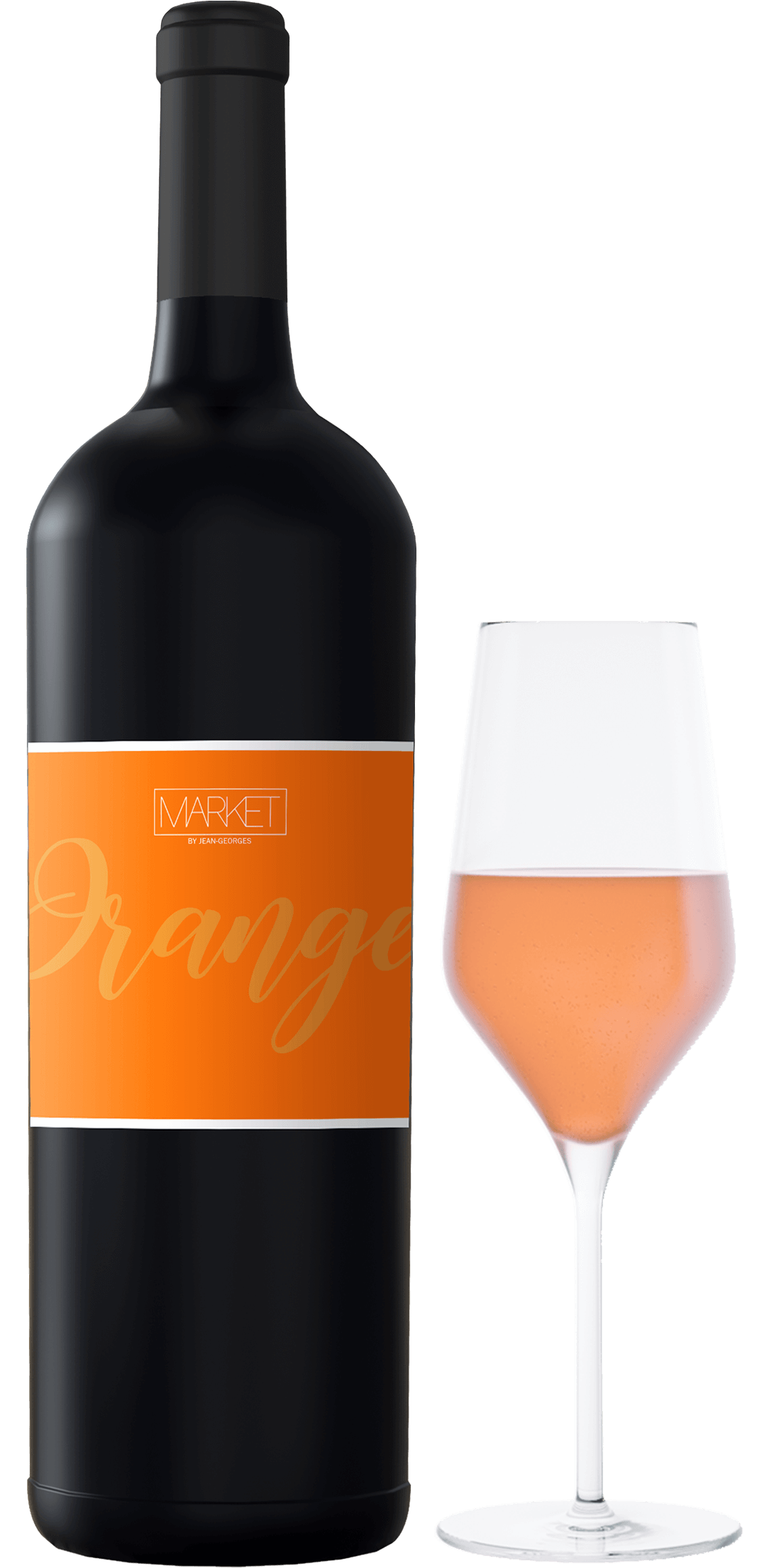 Black bottle with an orange label and a glass with an orange drink