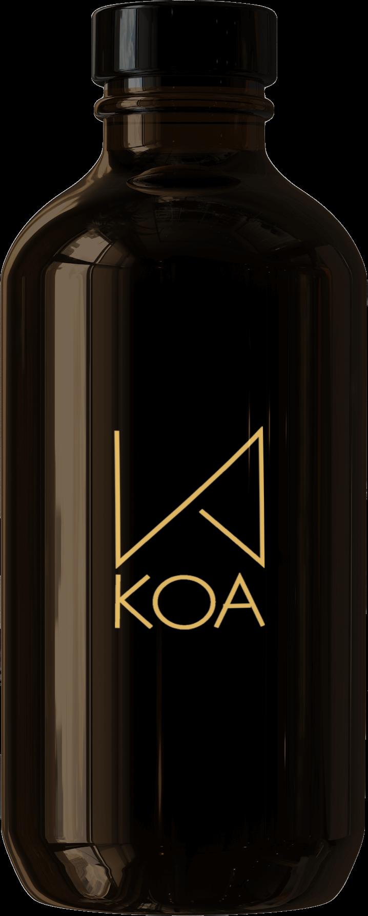 a dark bottle with a label written KOA
