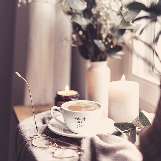 Hot drink and candles