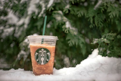 starbucks cup in the snow