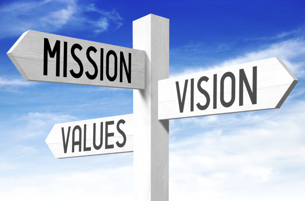 a signpost, pointing to mission, vision, and values