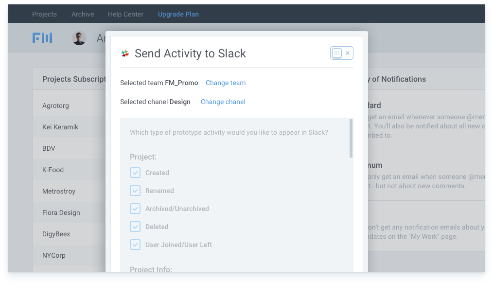 disconnect Slack from your project