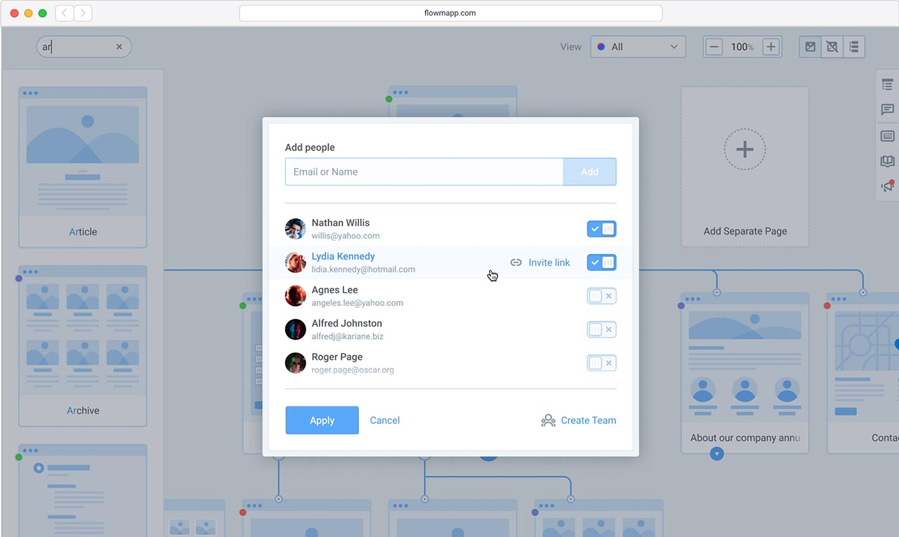 Inviting to the Flowmapp project